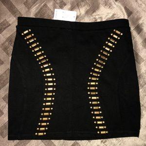 Bebe Black Embellished stretch skirt